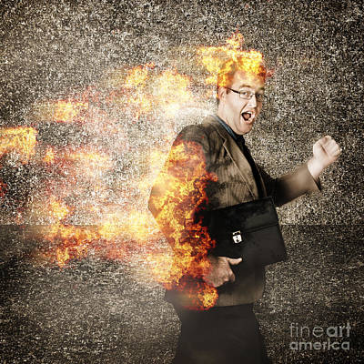 Crazy Businessman Running Engulfed In Fire. Late Print by Jorgo Photography - Wall Art Gallery