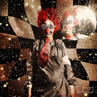 Crazy Dancing Disco Clown On A Psychedelic Trip Print by Jorgo Photography - Wall Art Gallery