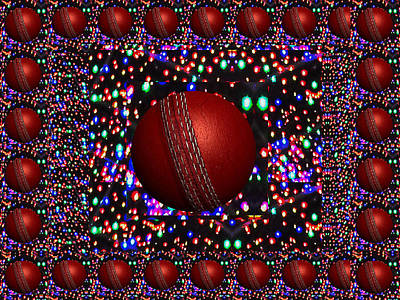 Champion Mixed Media - Cricket Game Play Player Balls Bowl Bowler Catch Red Century Drive Duck Team Australia West Indies E by Navin Joshi