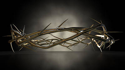 Catholicism Digital Art - Crown Of Thorns Gold Casting by Allan Swart