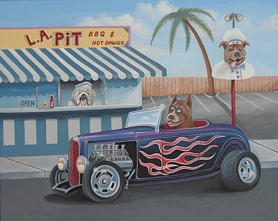 Hot Dogs Painting - Cruizin' At Da L.a. Pit by Stuart Swartz