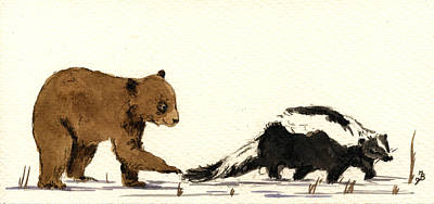 Playing Painting - Cub Bear Playing With Skunk by Juan  Bosco
