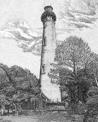 Drawing - Currituck Beach Lighthouse by Stephany Elsworth