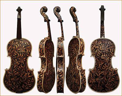 Pirogravura Pyrography - Custom Pyrographed Violin by Dino Muradian