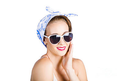 50s Photograph - Cute Young Woman In Headscarf And Sunglasses by Jorgo Photography - Wall Art Gallery