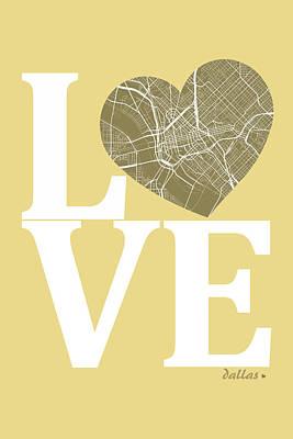Love Digital Art - Dallas Street Map Love - Dallas Texas Road Map In A Heart by Jurq Studio