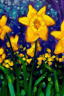 Daffodil Painting - Dancing Daffodils Cropped  by John  Nolan