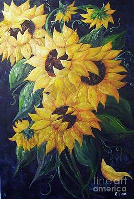 Sunflower Field Painting - Dancing Sunflowers  by Eloise Schneider