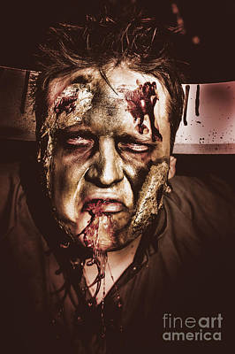 Dark Scary Halloween Zombie With Bloody Mouth Print by Jorgo Photography - Wall Art Gallery