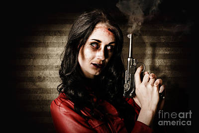 Dead Private Eye Detective Holding Smoking Gun Print by Jorgo Photography - Wall Art Gallery