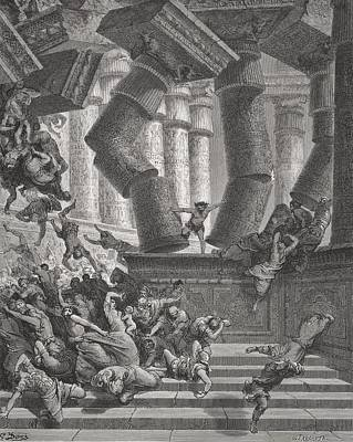 Falling Drawing - Death Of Samson by Gustave Dore