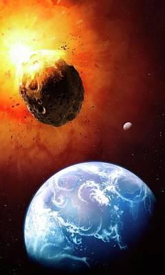Deflecting A Near-earth Asteroid Print by Mark Garlick