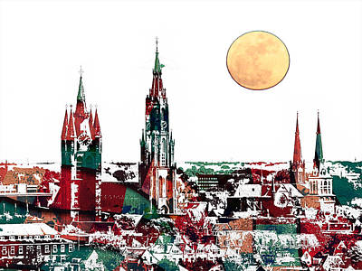 Delft Netherlands Blueprint Print by Celestial Images