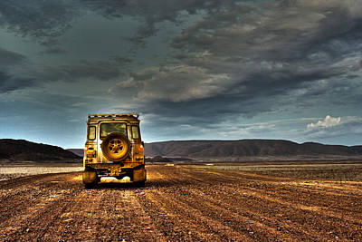 Land Rover Defender On Dirt Road Dusk Print by Jan Van der Westhuizen