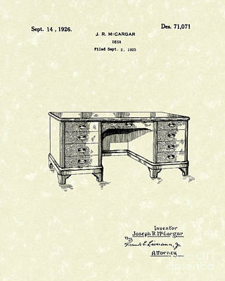 Desk Drawing - Desk 1926 Patent Art by Prior Art Design