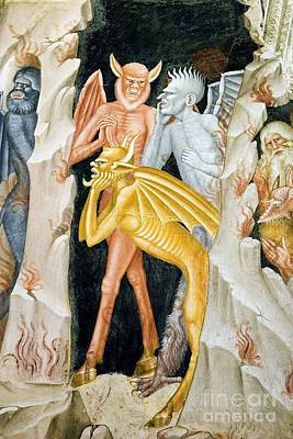 Devils And Hells Flames, 14th Century Print by Sheila Terry