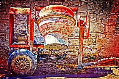 Digital Painting Of An Old Rusty Cement Mixer Print by Ken Biggs
