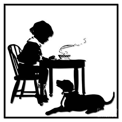 Scherenschnitte Digital Art - Dining With The Dog Silhouette by Rose Santuci-Sofranko