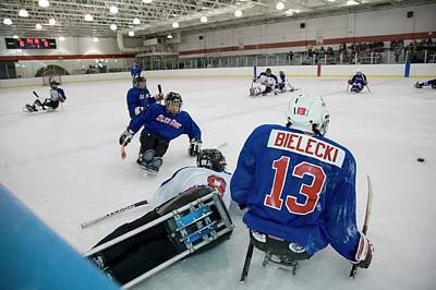 Disabled Sports Photograph - Disabled Ice Hockey by Jim West