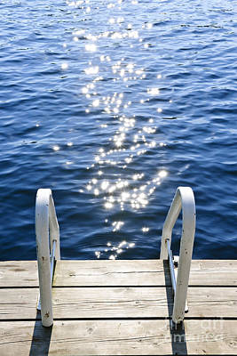 Dock On Summer Lake With Sparkling Water Print by Elena Elisseeva