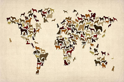 Dogs Map Of The World Map Print by Michael Tompsett