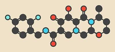 Dolutegravir Hiv Drug Molecule Print by Molekuul