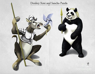 Donkey Mixed Media - Donkey Xote And Sancho Panda by Rob Snow