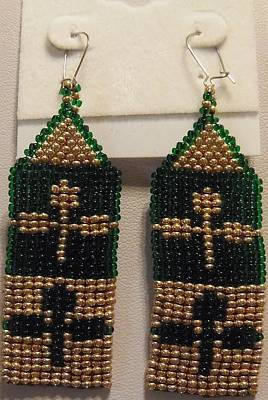 Double Shamrock Handwoven Earrings Print by Kimberly Johnson