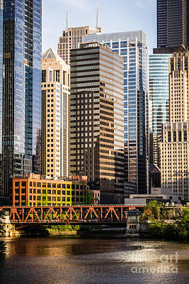 Downtown Chicago Buildings At Lake Street Bridge Print by Paul Velgos