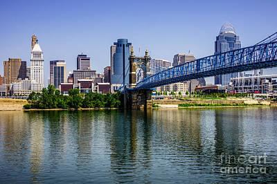 Roebling Bridge Photograph - Downtown Cincinnati Skyline And Roebling Bridge by Paul Velgos