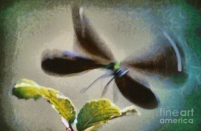 Dragonfly Painting - Dragonfly In Flight by George Atsametakis