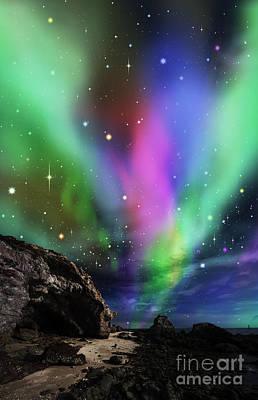Outside Mixed Media - Dramatic Aurora by Atiketta Sangasaeng