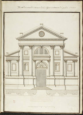 Drawing Of Elevation Of Italian Building Print by British Library