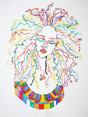 Rasta Painting - Dreadlocks Piano Goddess by Stormm Bradshaw