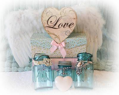 Dreamy Shabby Chic Ball Jars - Vintage Aqua Teal Blue Ball Jars - Ball Jars Pink Valentine Heart Art Print by Kathy Fornal