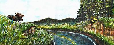 Maine Roads Painting - Driving In Maine by Shana Rowe Jackson