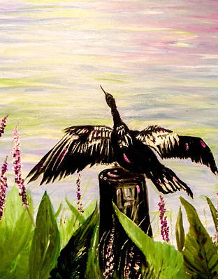 Anhinga Painting - Drying Feathers by Christy Usilton