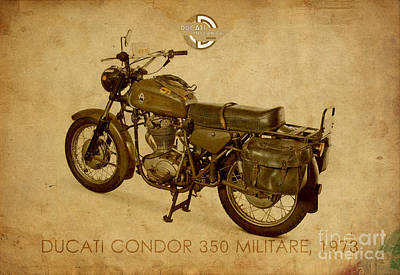 Vintage Mixed Media - Ducati Condor 350 Militare 1973 by Pablo Franchi
