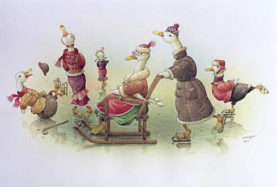 Duck Drawing - Ducks On Skates by Kestutis Kasparavicius