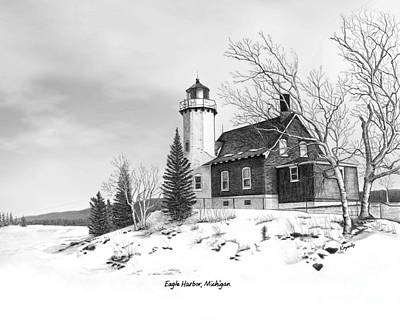 Made In Michigan Mixed Media - Eagle Harbor Lighthouse Titled by Darren Kopecky