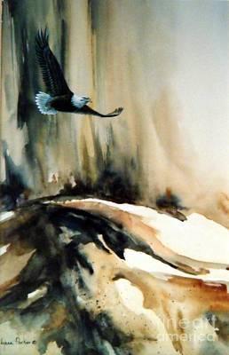 Soaring Painting - Eagle In Flight by Lynne Parker