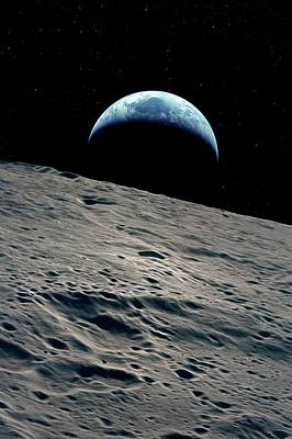 Earthrise Over The Moon Print by Detlev Van Ravenswaay