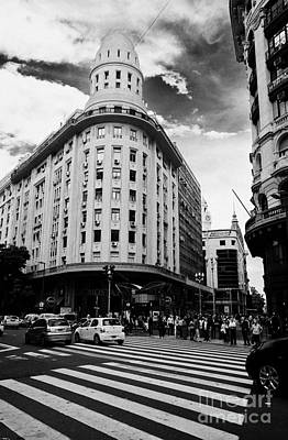Crosswalk Photograph - Edificio Bencich And South End Of Florida Street Downtown Buenos Aires Argentina by Joe Fox
