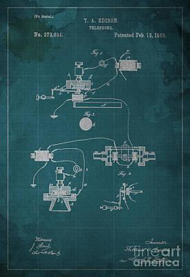 Edison Telephone Patent Blueprint 1 Print by Pablo Franchi