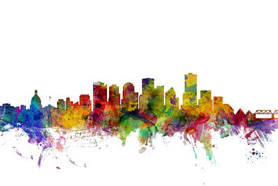Canada Digital Art - Edmonton Canada Skyline by Michael Tompsett