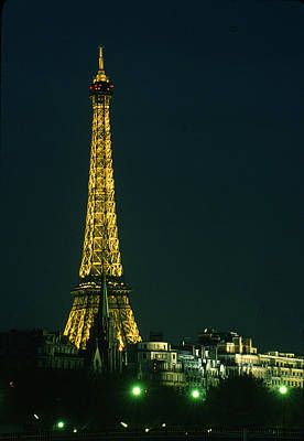 Eiffel Tower At Night Print by Carl Purcell