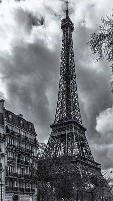 Black And White Photograph - Eiffel  Tower by James Bethanis