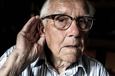 Elderly Man With Hearing Loss Print by Mauro Fermariello