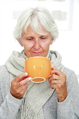 Elderly Woman With A Hot Drink Print by Lea Paterson