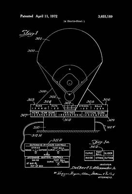 Baseball Art Drawing - Electric Baseball Game Patent 1972 by Mountain Dreams